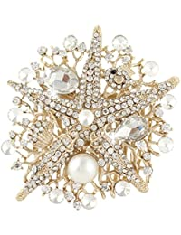 Ever Faith - Estrella Mar Novia Crema Perla Simulado Peineta De Pelo Cristal Austriaco Claro Oro-Tono N03610-3