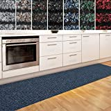 Küchenläufer Granada in großer Auswahl | strapazierfähiger Teppich Läufer für Küche Flur uvm. | rutschfester Teppichläufer / Flurläufer für alle Böden ( 80x200 cm Blau )