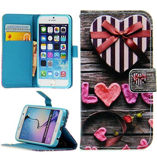 Handy Lux® Schutz Hülle Tasche Kartenfächer Flip Case Etui Cover Involto Motiv Design Hülle BookStyle (Huawei P10 Lite, Love Herzen) - Geschlagen Herz
