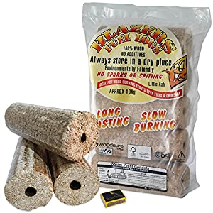 Blazers Fuel Logs HETAS Approved, Woodsure Plus & BSL Certified. Fuel for Firewood, Open Fires, Stoves and Log Burners and Tigerbox Safety Matches