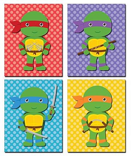PrintPros 4Stück Kinder/Babyzimmer Ninja Turtle Drucke (20,3x 25,4cm)