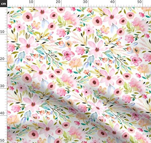 Denim Vorhänge (Indy Blütendesign, Vorhänge, Decke, Tapete, Kinderzimmer, Baby Stoffe - Individuell Bedruckt von Spoonflower - Design von Indybloomdesign Gedruckt auf Jeansstoff)