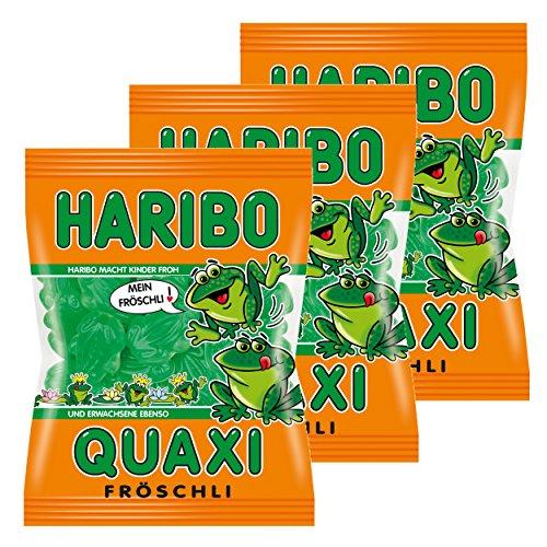 Haribo Quaxi Fröschli Frösche, 3er Pack, Gummibärchen, Weingummi, Fruchtgummi, Im Beutel, Tüte