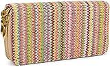 styleBREAKER Geldbörse mit buntem Zick-Zack Muster im Ethno Design, Reißverschluss, Portemonnaie, Damen 02040049, Farbe:Beige-Mehrfarbig-quer