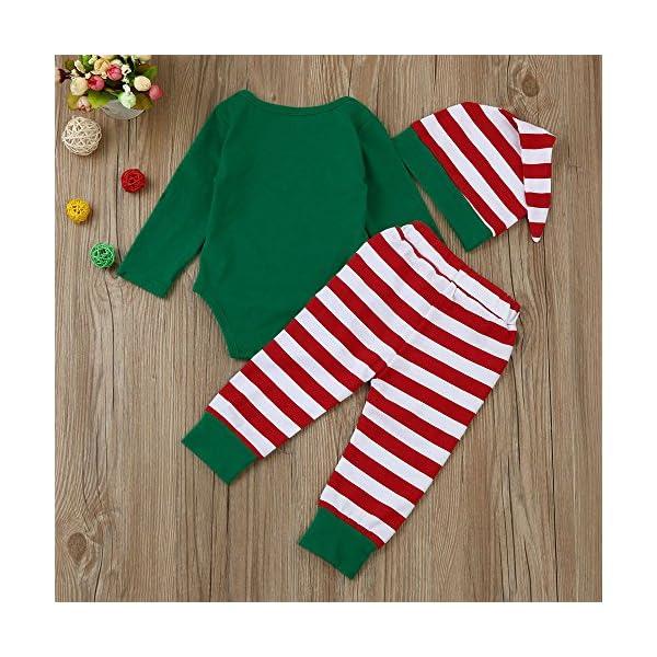 Navidad Bebe Ropa,Fossn Bebé Niña Niño Monos 'my 1st Christmas ' + Pantalones a Rayas + Sombrero 2