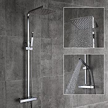 HOMELODY Thermostatic Shower System with Rain Shower Hand Held Shower Head, Bathroom Shower Mixer Set with Adjustable Riser Rail Kit