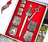 FATE Gintama Tokyo Ghoul One piece Attack On Titan Fairy Tail SAO Conjunto Anillo insignia Collar Espada Key medallas Honor