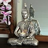 Figura de Buda plata decorativos con palmatoria - Altura 26cm