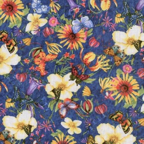Fat Quarter de tissu en coton Motif Bouquet de 50 x 55 cm