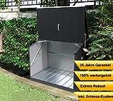 Trimetals Gerätebox, Aufbewahrungsbox, Multifunktionsbox, Fahrradbox Stowaway Anthrazit 138x89x113 cm (LxBxH) Multibox aus verzinktem Stahl