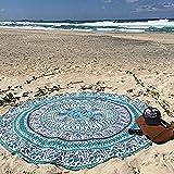 QHGstore Round Totem Muster Strandtuch Yoga Matte Tippet Chiffon Tischdecke Blau Grün Totem 150cm
