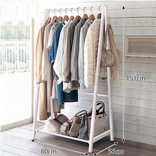 Kiefer Ecke Rack (LM European Style Floor Standing Coat Rack Baum Massiv Holz Holz 149cm151cm Double Rod Typ Movable Hanger ( Farbe : Weiß , größe : 151cm ))