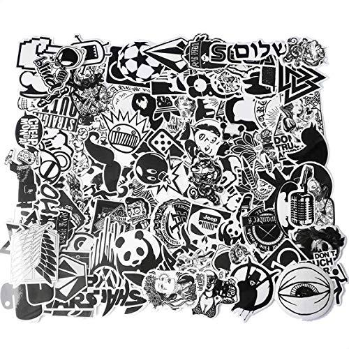 100 Stücke Aufkleber Schwarz-Weiß Graffiti Decals Bumper Stickers für Auto, Skateboard, Reisekoffer, Motorräder, Fahrräder, Boote, Laptop