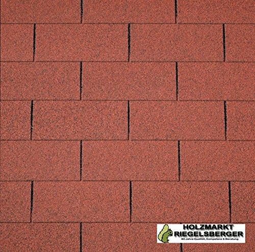 Rechteckschindeln 3 m² ROT zur Dacheindeckung für Gartenhäuser, Gerätehäuser, Pavillons,...