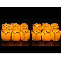 Satyam Kraft Melting LED Candles for Diwali Gift & Home Decor- Yellow (Box of 12)