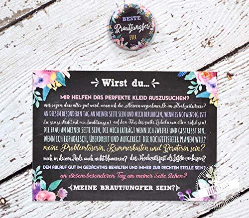 Brautjungfer fragen Hochzeit, Geschenk-Karte mit Button, Willst du meine Brautjungfer sein