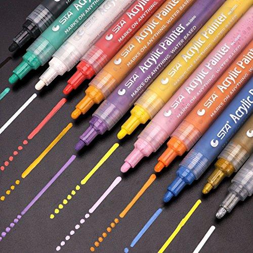 SUPERSUN Acrylfarben Acrylstifte wasserfest, 12 Farben Acrylfarben Holz stifte wasserfest Acrylstifte für Leinwand, Steine, Fotoalbum, Glas (Kleinkindern Zu Mit Basteln Tun)