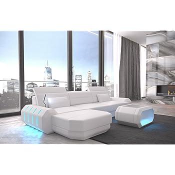 35f5e4e0421771 Canapé en cuir roma en forme de l blanc blanc Canapé-lit canapé d angle  design Canapé en cuir Appui-tête éclairage LED Lumiere et beaucoup plus