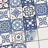creatisto Fliesenfolie Fliesenaufkleber Mosaikfliesen - Klebe Folie für Wandfliesen | Klebefliesen Deko Folien für Fliesen Ornament in Bad u. Küche (15x15 cm | 36 -Teilig)