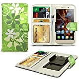 N4U ONLINE - Verschiedene Muster Clip Serie PU- Leder Brieftasche Buch Hülle für Gionee Gpad G5 - Grün Blumen