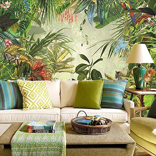 Preisvergleich Produktbild HUANGYAHUI Wandbilder Der Tropische Regenwald 3D Dschungel Tapete Grüne Pflanzen Wandmalereien Cafe Restaurant Hintergrundbild Für Das Wohnzimmer Gedruckt.