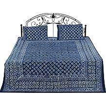 Exotic India Twilight-Blue - Colcha de algodón Puro con Estampado de Flores Blancas de