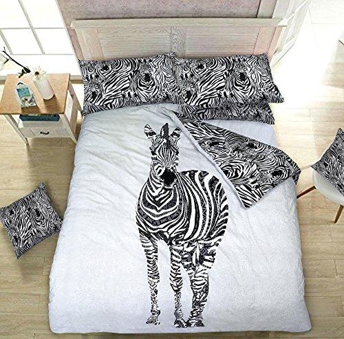 Zebra Imprimé animal réversible Parure de lit avec housse de couette + Taie d'Oreiller par Pieridae, 50 % coton, 50 % polyester, blanc, Simple