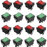 Interruptor Basculante ON-OFF DPST,16 Piezas 4 Pin DPST ON/Off,Interruptores AC 250V /6A 125V /10A,Encaje en El Interruptor B