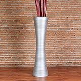 Leewadee Große Bodenvase für Dekozweige hohe Standvase Design Holzvase, 30x112 cm, Holz, Silber