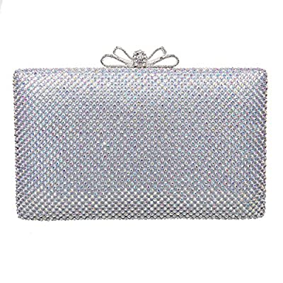 Bonjanvye Bow Purse For Women Rhinestone Crystal Evening Clutch Bags
