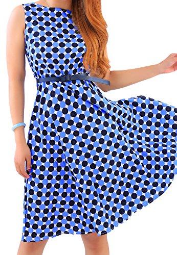 OMZIN Damen Long Sleeved Elegant gestreiften Casual Cocktailkleid Blau L (Polka Dot Jahre 50er Kleid)