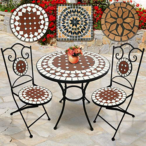 Jago Set da Giardino Mosaico | Tavolo Rotondo o Quadrato + 2 sedie Pieghevoli (Altezza Seduta 46 cm) | Colori e Design a Scelta (Bianco-Rosso)