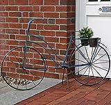 Blaues Nostalgie Pflanzen Fahrrad als Damenfahrrad im Landhausstil