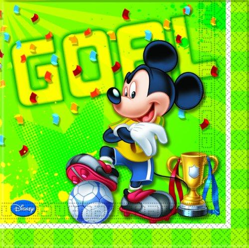 Exclusive Trade Servietten Mickey Goal Disney, 20Stück (Und Party Supplies Micky Freunde Maus Geburtstag)