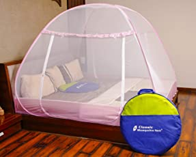 Classic Mosquito Net Foldable King Size,Queen Size & Double Bed (Pink-Premium) with Saviours