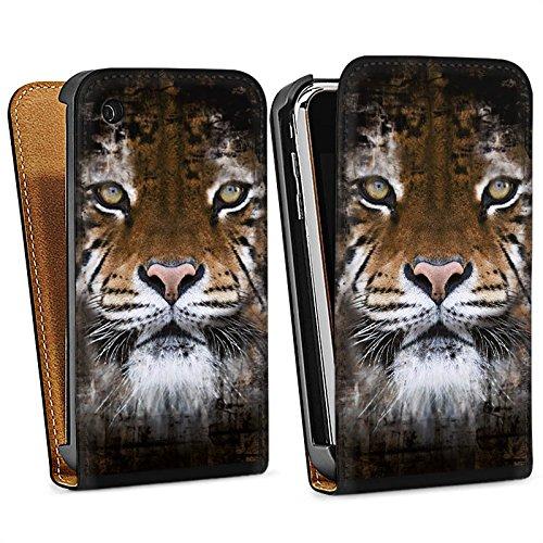 Apple iPhone 5 Housse Outdoor Étui militaire Coque Tigre Animaux Félin Sac Downflip noir