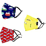 LivIndia 6 Ply Protection Cotton Adjustable Ear loops Reusable Washable Face Mask for Girls and Boys ( Blue-Yellow-Red Sport