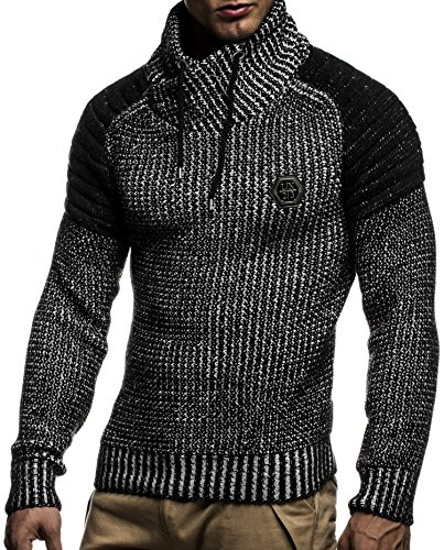 LEIF NELSON Herren Pullover Hoodie Strickpullover Longsleeve Sweatshirt Gesteppt Biker-Style Schalkragen LN5235 Schwarz-Ecru