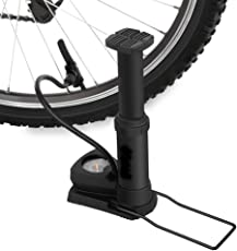 Lighter House Foot Activated Floor Pump With Gauge, 120 PSI, Fits Presta & Schrader For Cycle Tires, Sports Balls (Black)