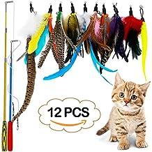 LlorenteRM Juguetes para Gatos interactivos de Plumas de Peluche retráctil con 2 Varillas 10 Accesorios Gusano