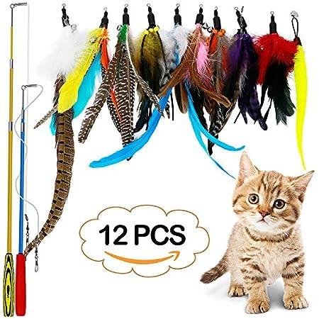 LlorenteRM Katzenspielzeug, interaktives Feder-Teaser mit 2 Stangen, 10 Befestigungen, Wurmvögel, Federn für Kätzchen…