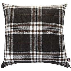 "Funda de diseño de cuadros de tartán escocés tela cojín cojines con relleno British hecha a mano color marrón oscuro–Tamaño Grande–55cm x 55cm–22""x 22pulgadas"