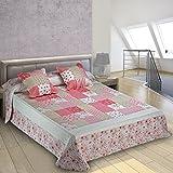 Burrito Blanco - Colcha-boutí con cuadrantes 397 para cama 150x190/200 cm, color rosa