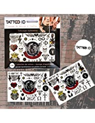 TATTOO ID BAD BOY ROCK tatouage ephemere temporaire hypoallergénique Fabriqué en FRANCE . 2 planches + 1 éponge cosmétique Adulte