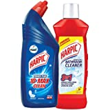 Harpic Bathroom Cleaner (Lemon) - 1 L and Harpic Powerplus Toilet Cleaner Original, 1 L