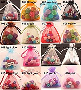 Generic purple, 9x12cm : 100pcs 2 Sizes Solid Organza Bag Jewelry Packing Pouch For Wedding Gift Bags Mix Colors For Choosing