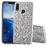 Slynmax Huawei P Smart Plus Hülle Glitzer Bling Schutzhülle Huawei P Smart Plus Hülle Mädchen Soft Slim TPU Silikon Hülle Bumper Style Tasche Luxus Handyhülle Kompatibel mit Huawei P Smart Plus,Silber