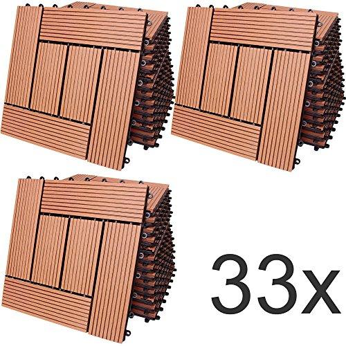 33x Dalles de Terrasse en Bois Composite WPC Mosaïque...