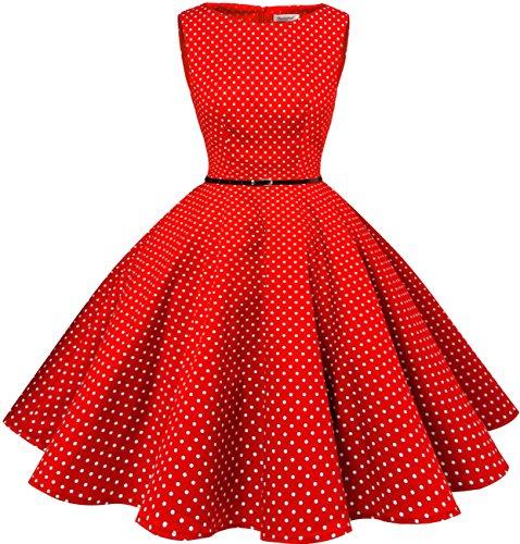Bbonlinedress modèle 2 Vintage rétro 1950's Audrey Hepburn robe de soirée cocktail année 50 Rockabilly Rouge à pois blanc
