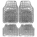 Auto Fußmatten/Auto Matten, Alu Look, Universal passend, 4-teilige Riffelblech, Silber, 7104